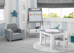 Delta Children Chelsea Double-Sided Storage Easel with Paper Roll and Magnets Light Grey/White (1176), Room View, a1a