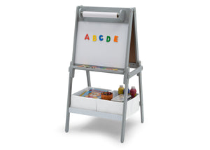 Delta Children Chelsea Double-Sided Storage Easel with Paper Roll and Magnets Light Grey/White (1176), Left View, a3a