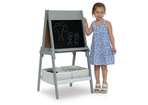 Delta Children Chelsea Double-Sided Storage Easel with Paper Roll and Magnets Light Grey/White (1176), Child View, a4a