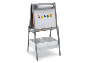 Delta Children Chelsea Double-Sided Storage Easel with Paper Roll and Magnets Light Grey/White (1176), Right View, a2a