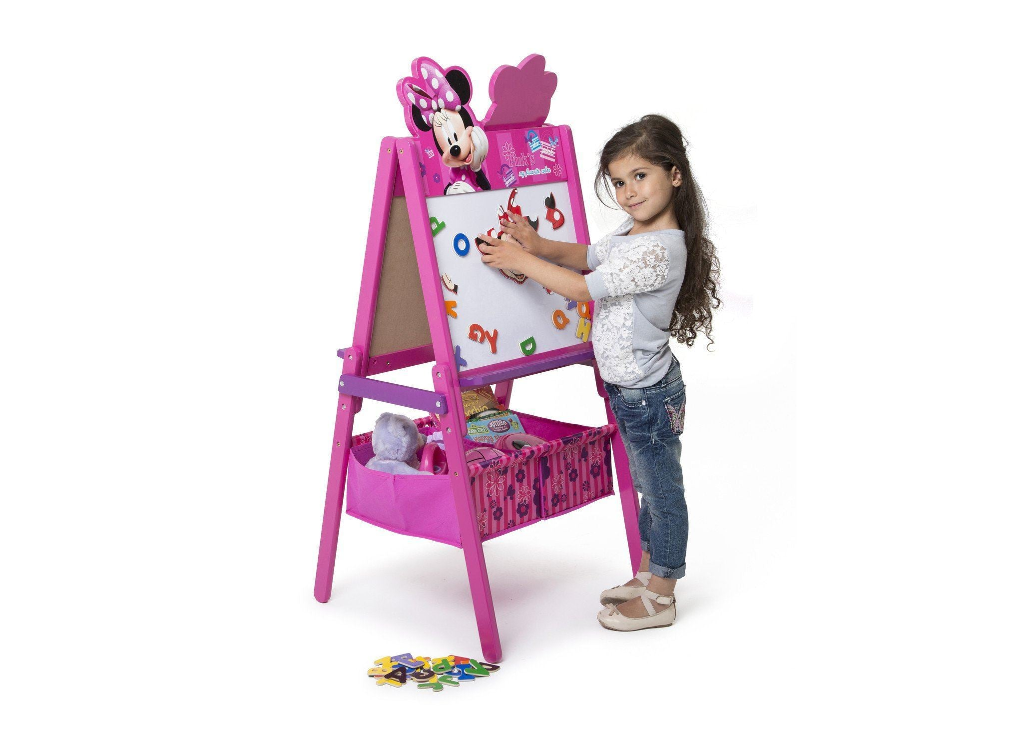 Delta Children Minnie Mouse Activity Easel with Storage, Dry-Erase Surface View with Props Minnie Mouse (1058)