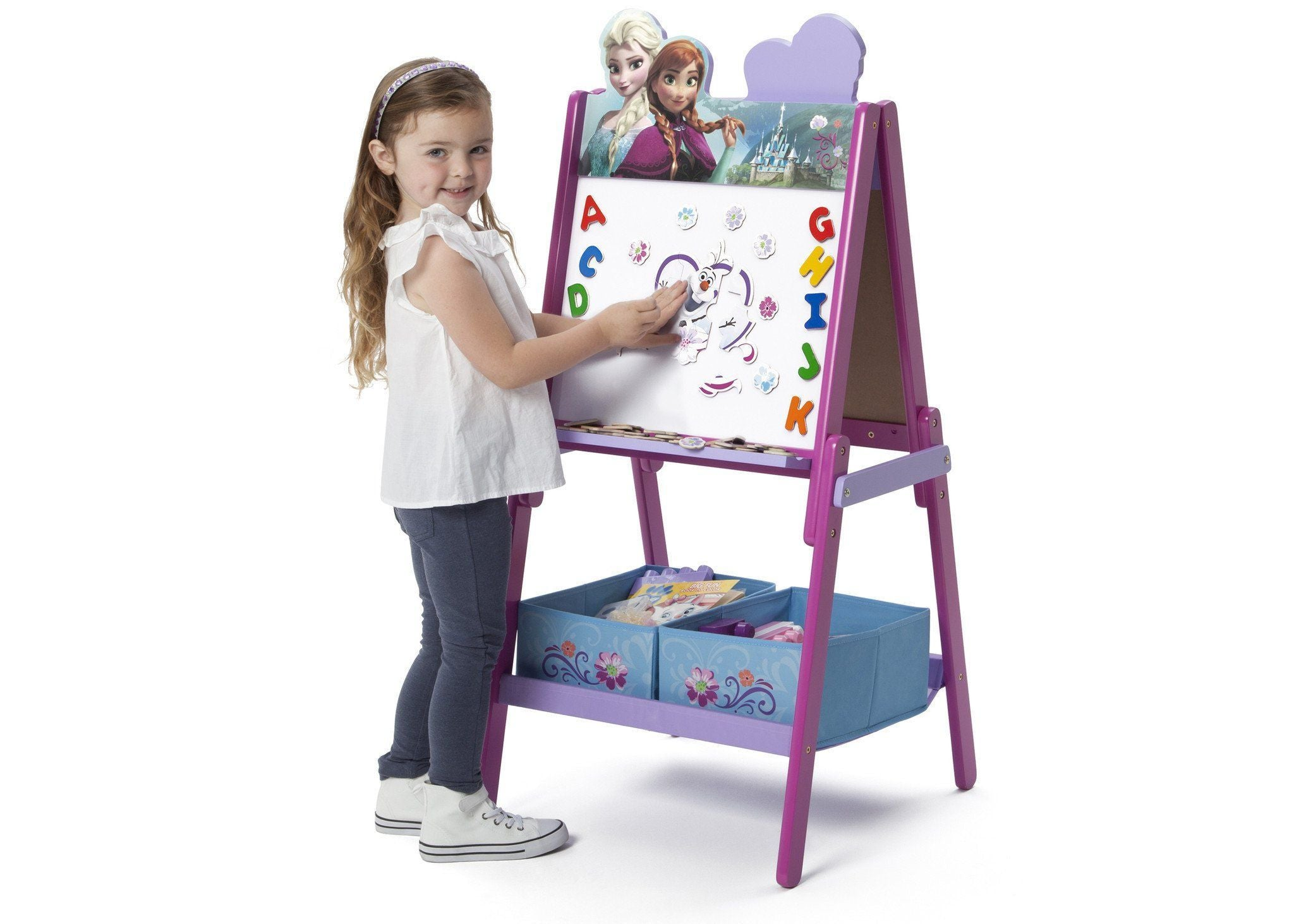 frozen wooden double sided activity easel delta children
