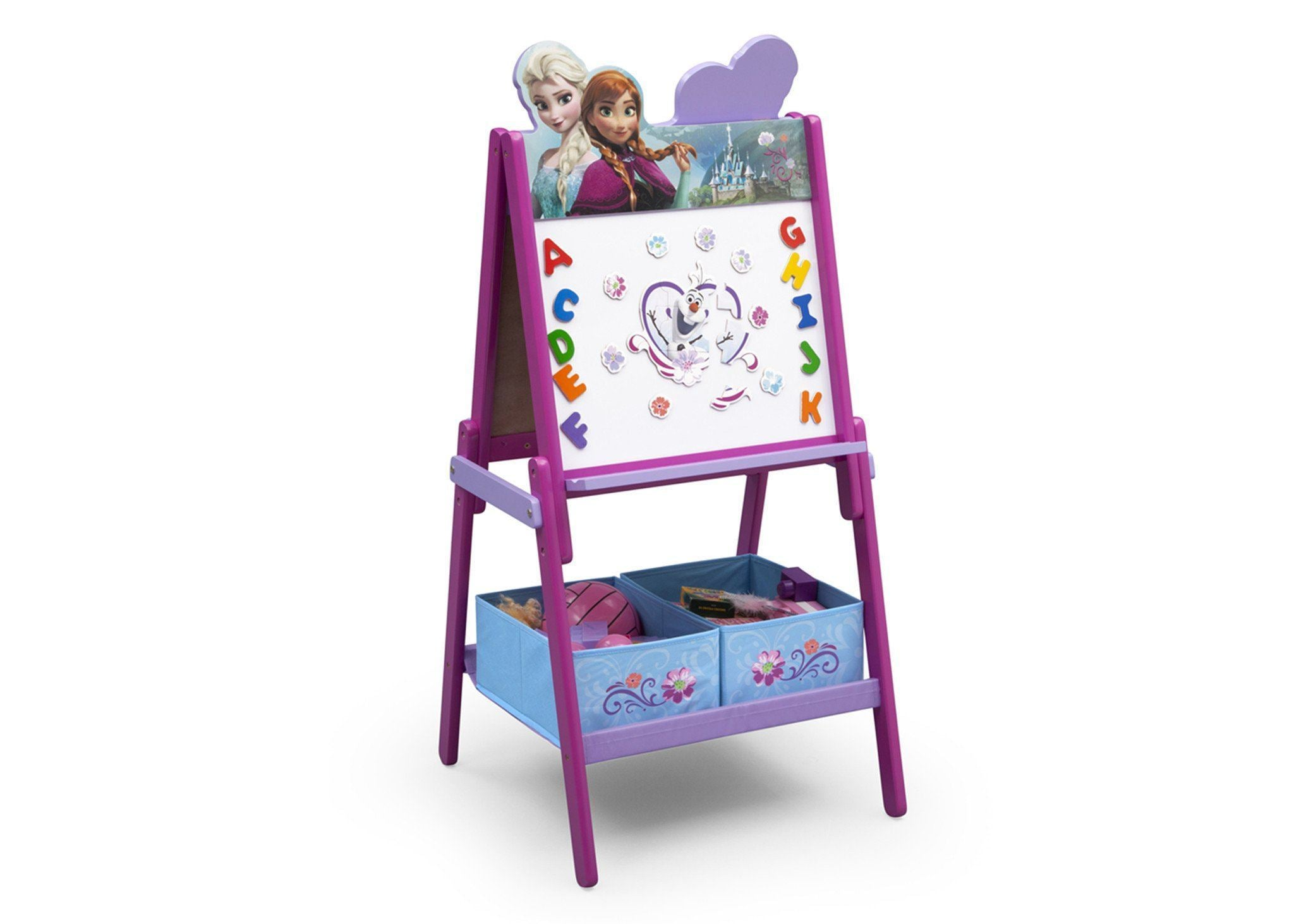 Delta Children Frozen Wooden Double Sided Activity Easel with Storage, Right View with Props a2a
