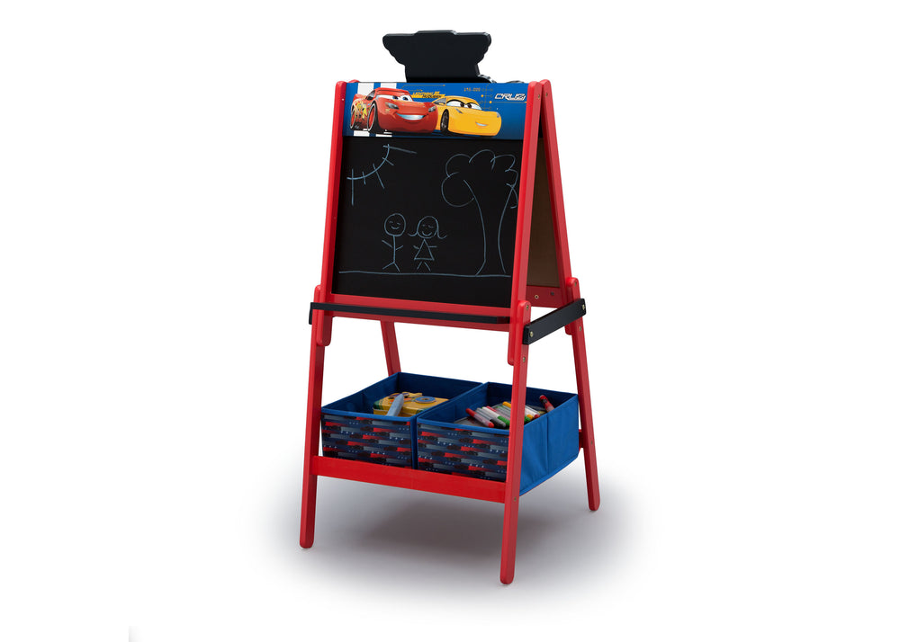 Disney/Pixar Cars Wooden Double Sided Easel with Storage by Delta Children, Chalkboard Left Silo View