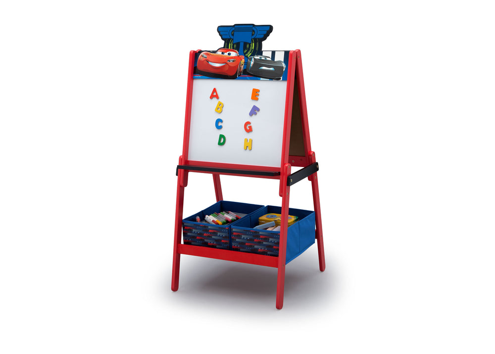Disney/Pixar Cars Wooden Double Sided Easel with Storage by Delta Children, Dry Erase Left Silo View