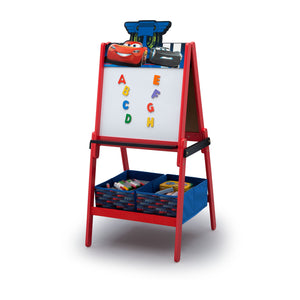 Disney/Pixar Cars Wooden Double Sided Easel with Storage by Delta Children, Dry Erase Left Silo View Disney Cars (1014)