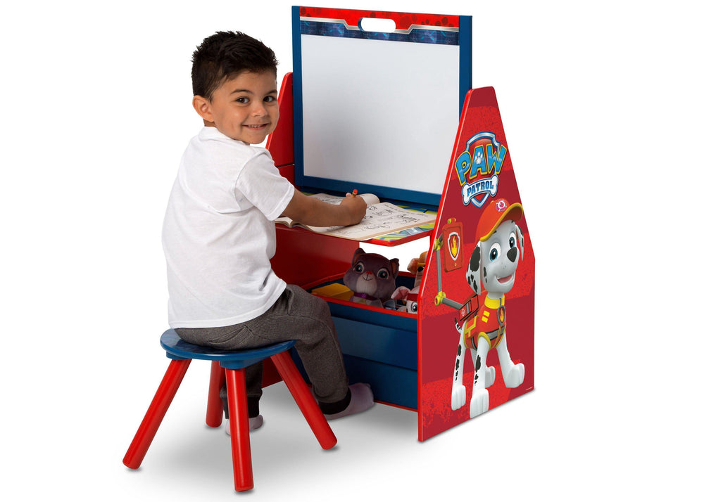 Delta Children PAW Patrol Activity Center - Easel Desk with Stool & Toy Organizer Easel Desk View with Model a3a