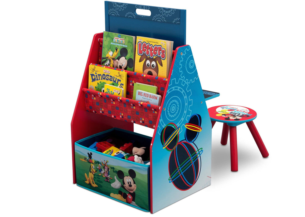 Delta Children Mickey Mouse Activity Center - Easel Desk with Stool & Toy Organizer Left View Toy Organizer a2a