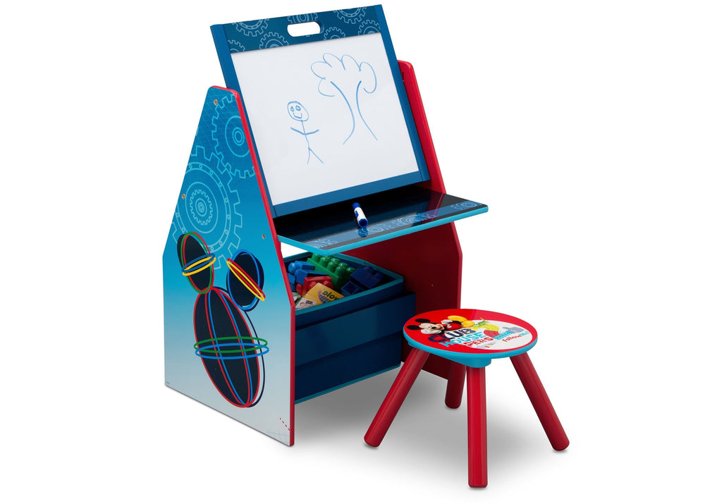 Delta Children Mickey Mouse Activity Center - Easel Desk with Stool & Toy Organizer Right View Easel Desk a1a