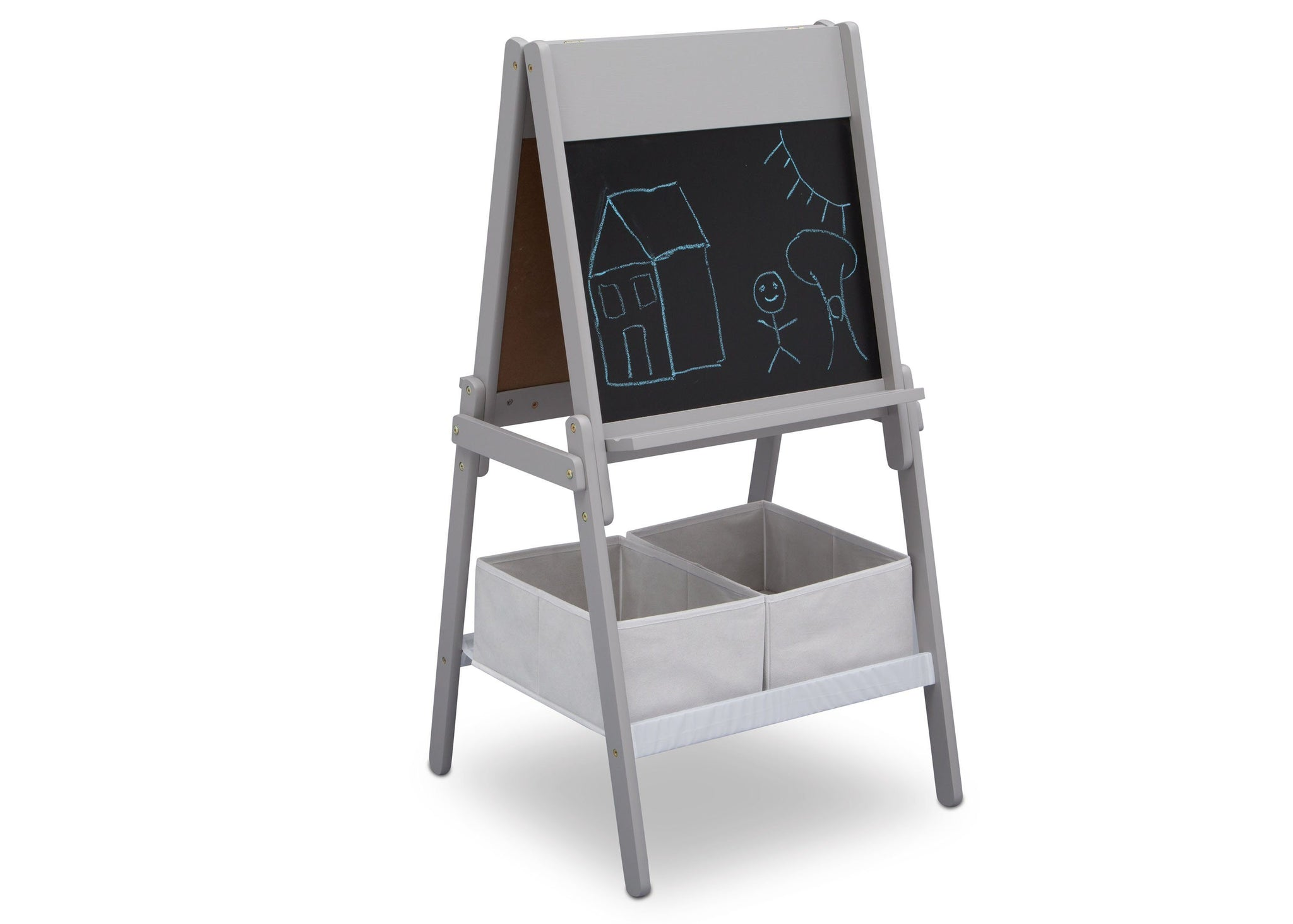 Delta Children Grey (026) MySize Double-Sided Storage Easel, Right Angle Chalk, a4a