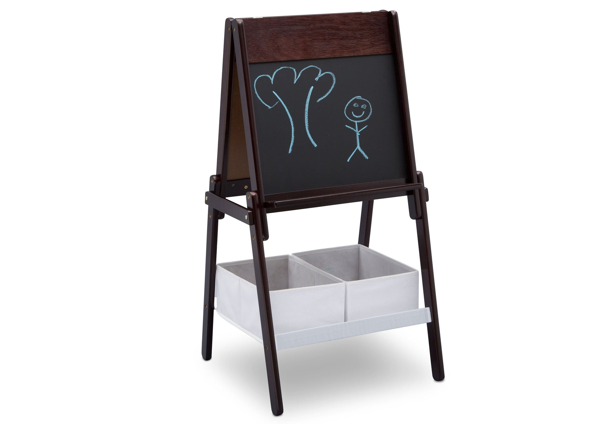 Delta Children Dark Chocolate (207) MySize Double-Sided Storage Easel, Right Angle Chalk, c4c
