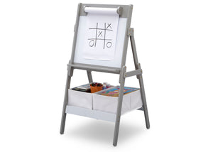 Delta Children Grey (026) Classic Kids Whiteboard/Dry Erase Easel with Paper Roll and Storage Left Silo View