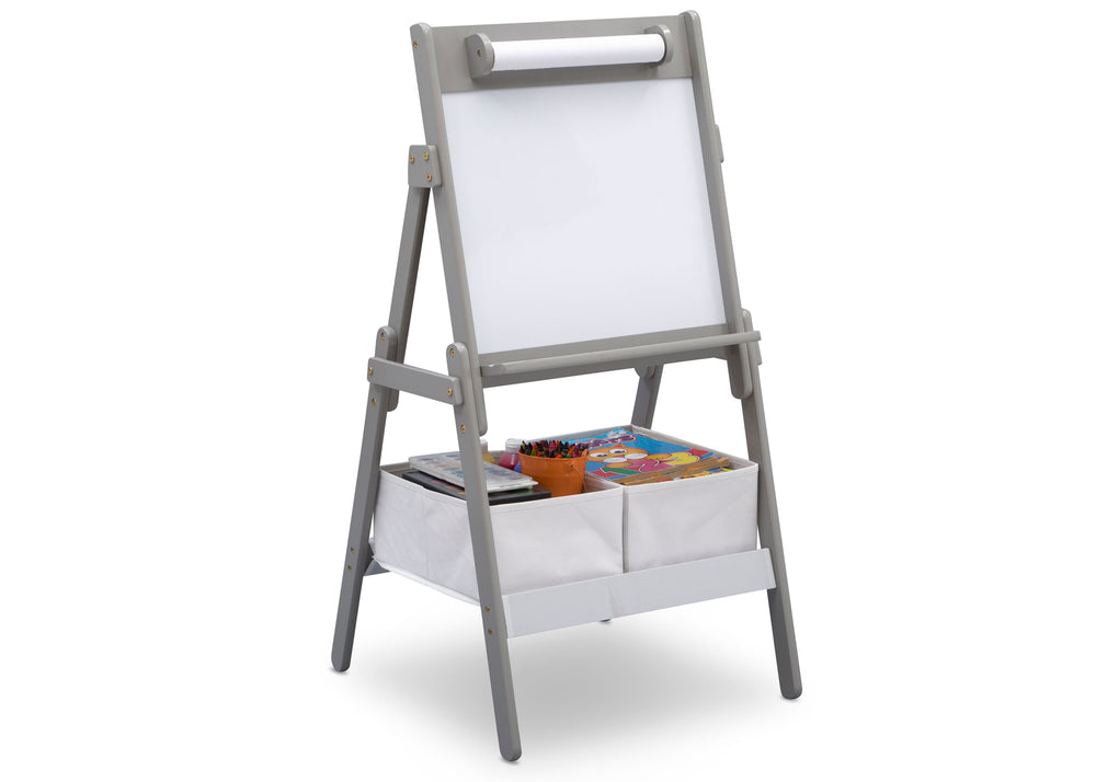 Delta Children Grey (026) Classic Kids Whiteboard/Dry Erase Easel with Paper Roll and Storage Right Silo View