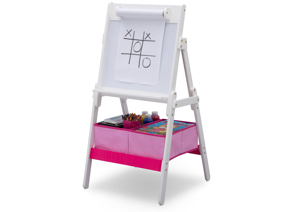 Delta Children Bianca (130) Classic Kids Whiteboard/Dry Erase Easel with Paper Roll and Storage Left Silo View