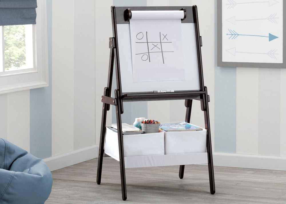 Delta Children Dark Chocolate (207) Classic Kids Whiteboard/Dry Erase Easel with Paper Roll and Storage Hangtag View