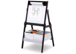 Delta Children Dark Chocolate (207) Classic Kids Whiteboard/Dry Erase Easel with Paper Roll and Storage Left Silo View