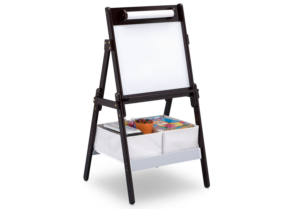 Delta Children Dark Chocolate (207) Classic Kids Whiteboard/Dry Erase Easel with Paper Roll and Storage Right Silo View
