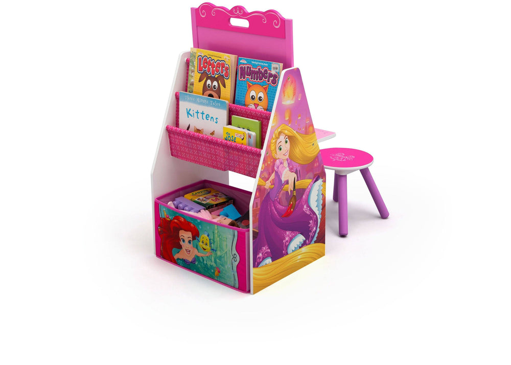 Delta Children Princess (1034) Activity Center - Easel Desk with Stool & Toy Organizer, a2a