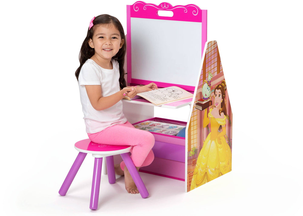 Delta Children Princess (1034) Princess Activity Center - Easel Desk with Stool & Toy Organizer, Girl, a3a