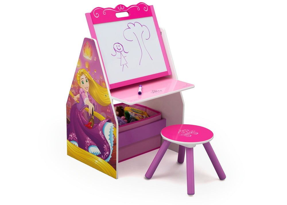Delta Children Princess (1034) Activity Center - Easel Desk with Stool & Toy Organizer, Right View a1a