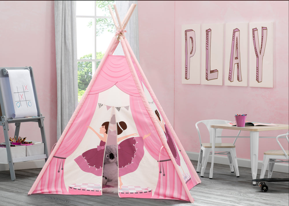 Delta Children Ballerina Teepee Play Tent for Kids, Hangtag View