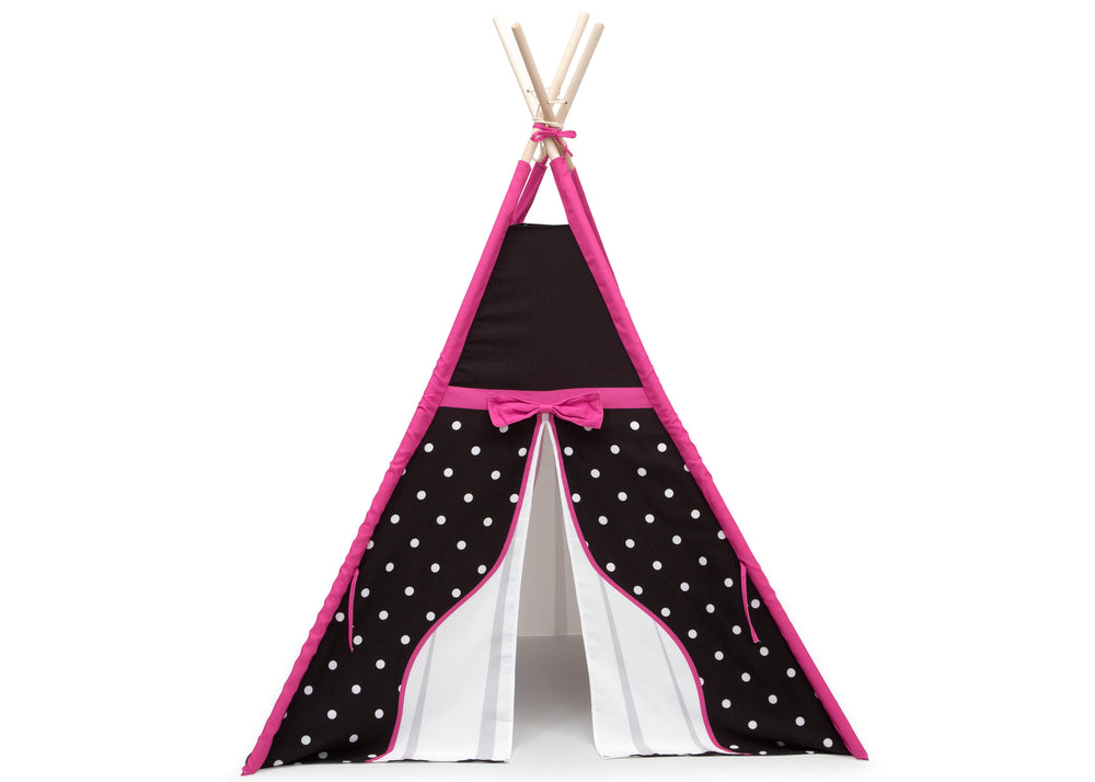 Delta Children Polka Dots and Bows Teepee Play Tent for Kids, Front Silo View