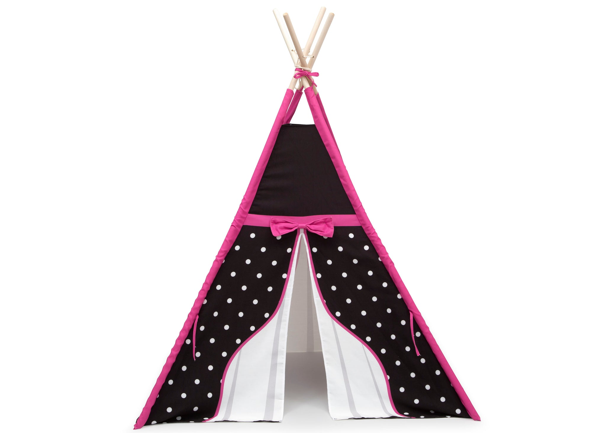 Delta Children Polka Dots and Bows (999) Teepee Play Tent for Kids, Front Silo View