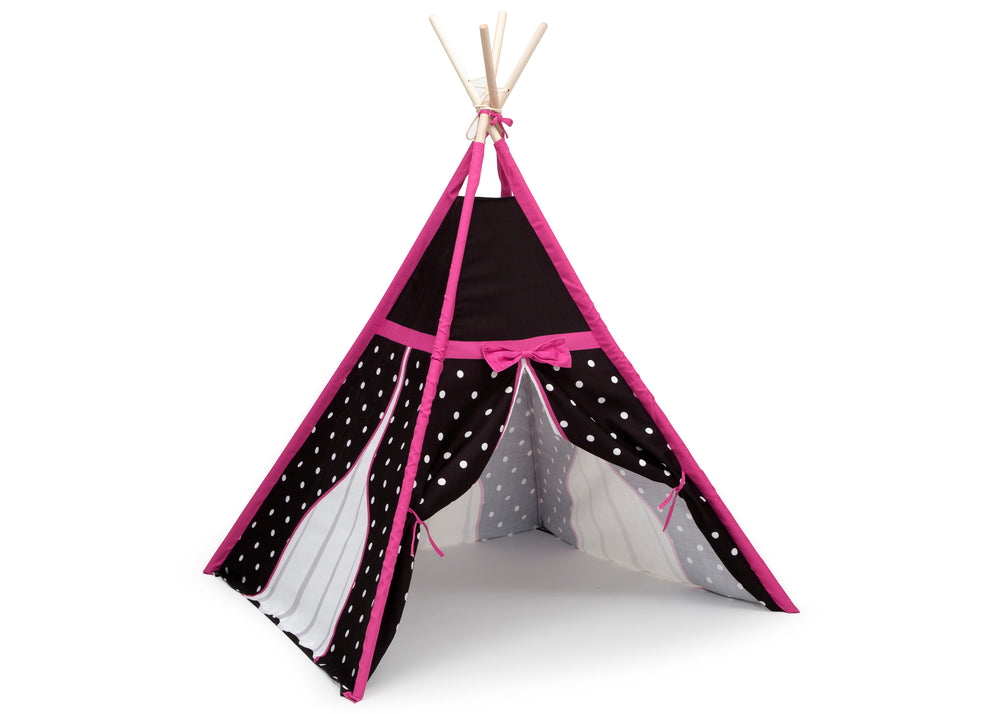 Delta Children Polka Dots and Bows Teepee Play Tent for Kids, Right Silo View