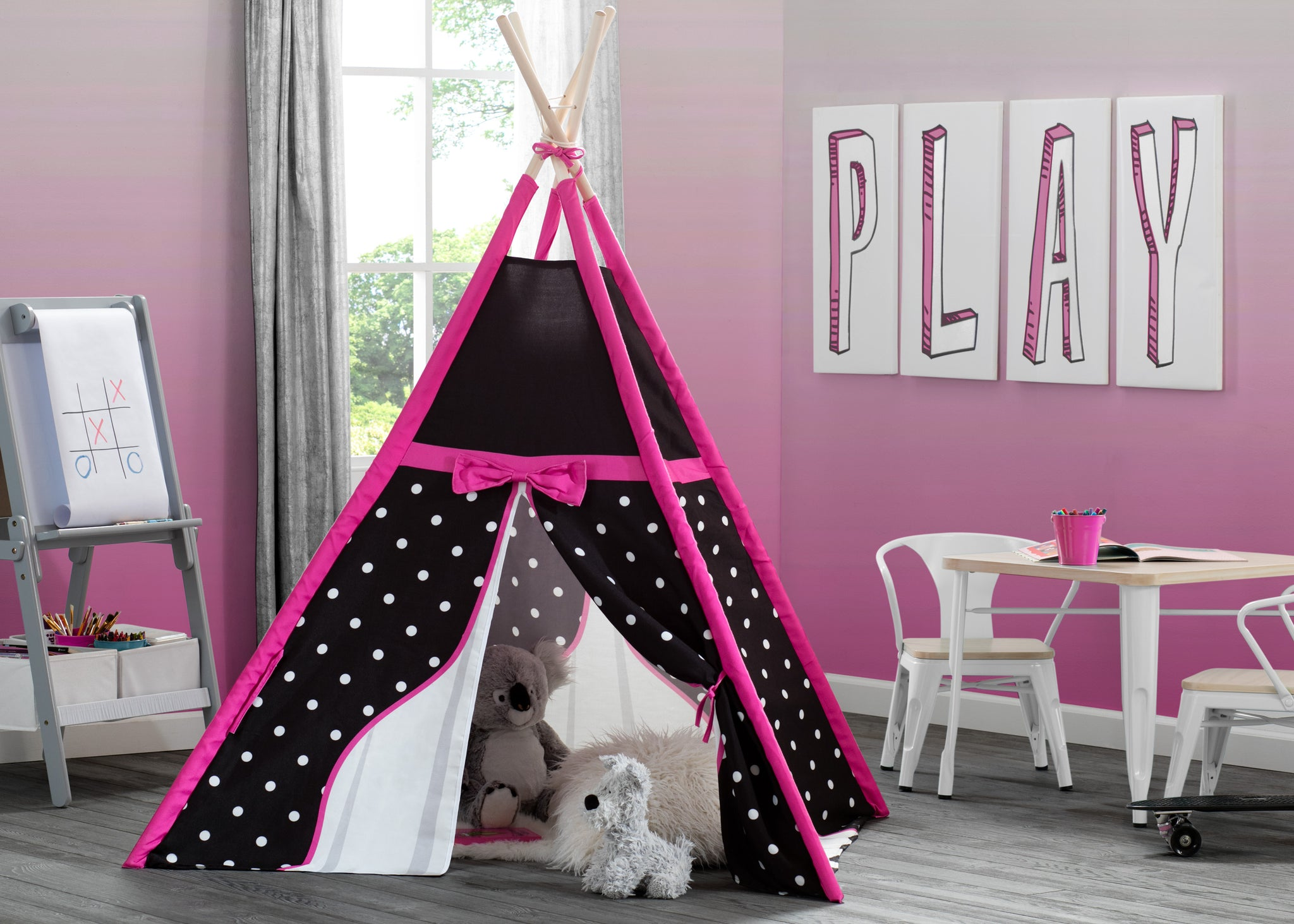 Delta Children Polka Dots and Bows (999) Teepee Play Tent for Kids, Hangtag View