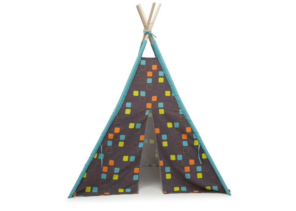 Delta Children Geometric Squares Teepee Play Tent for Kids, Front Silo View