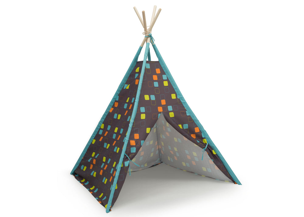 Delta Children Geometric Squares Teepee Play Tent for Kids, Right Silo View