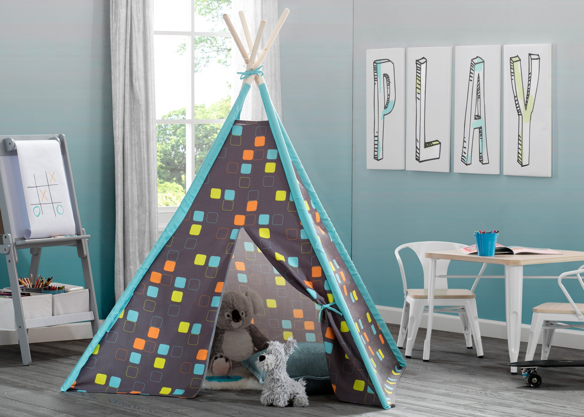 Delta Children Geometric Squares (999) Teepee Play Tent for Kids, Hangtag View