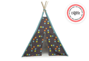Delta Children Geometric Squares (999) Teepee Play Tent for Kids, Front Silo View