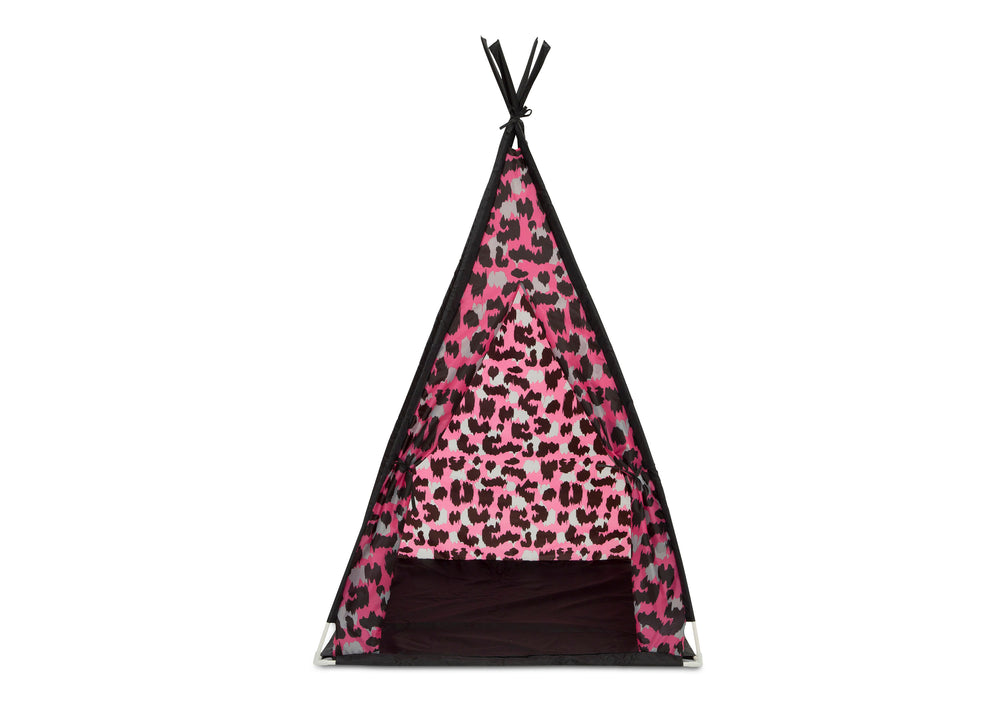 Delta Children Pink Cheetah Teepee Play Tent and Matching Sleeping Bag Set for Kids, Front Silo View