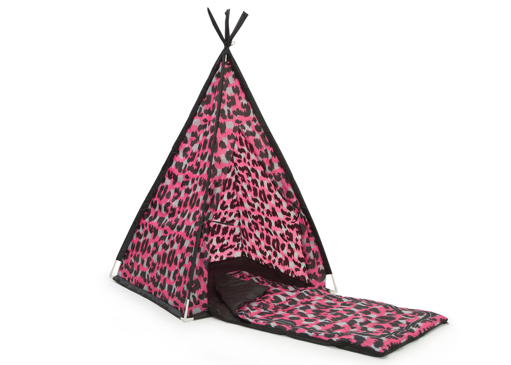 Delta Children Pink Cheetah Teepee Play Tent and Matching Sleeping Bag Set for Kids, Right Silo with Sleeping Bag View