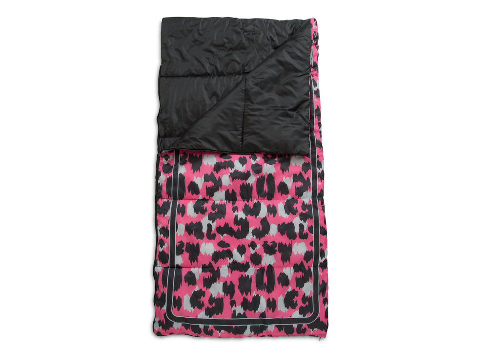 Delta Children Pink Cheetah Teepee Play Tent and Matching Sleeping Bag Set for Kids, Sleeping Bag Detail View