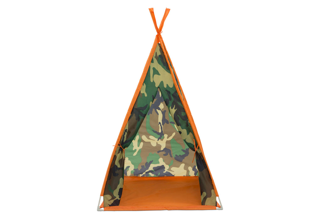 Delta Children Green Camo Teepee Play Tent and Matching Sleeping Bag Set for Kids, Front Silo View