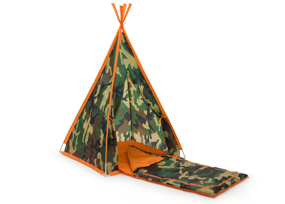 Delta Children Green Camo Teepee Play Tent and Matching Sleeping Bag Set for Kids, Right Silo with Sleeping Bag View