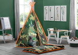 Delta Children Green Camo Teepee Play Tent and Matching Sleeping Bag Set for Kids, Hangtag View