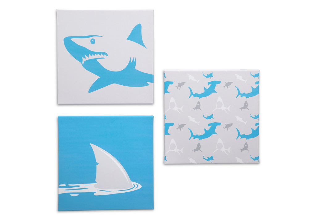 Delta Children Shark (3208) 3-Piece Canvas Wall Art Set for Boys, All Art Silo View