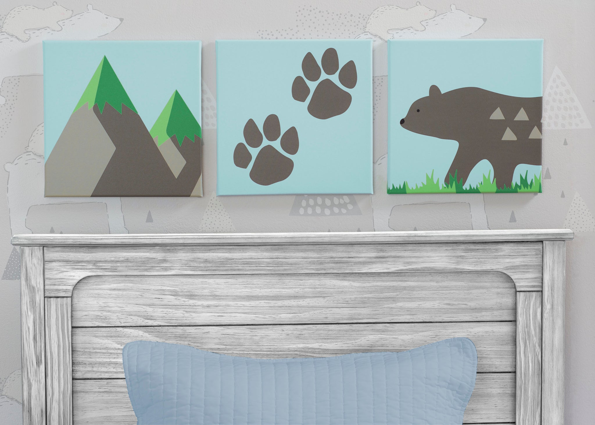 Delta Children Bear (3209) 3-Piece Canvas Wall Art Set for Boys, Hangtag View