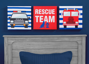 Delta Children Rescue (3211) 3-Piece Canvas Wall Art Set for Boys, Hangtag View
