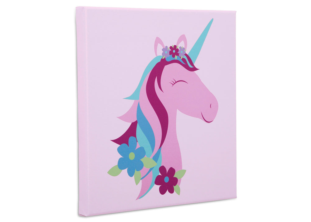 Delta Children Unicorn (3011) 3-Piece Canvas Wall Art Set for Girls, Unicorn Close Up Silo View