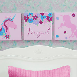 Delta Children Unicorn (3011) 3-Piece Canvas Wall Art Set for Girls, Hangtag View