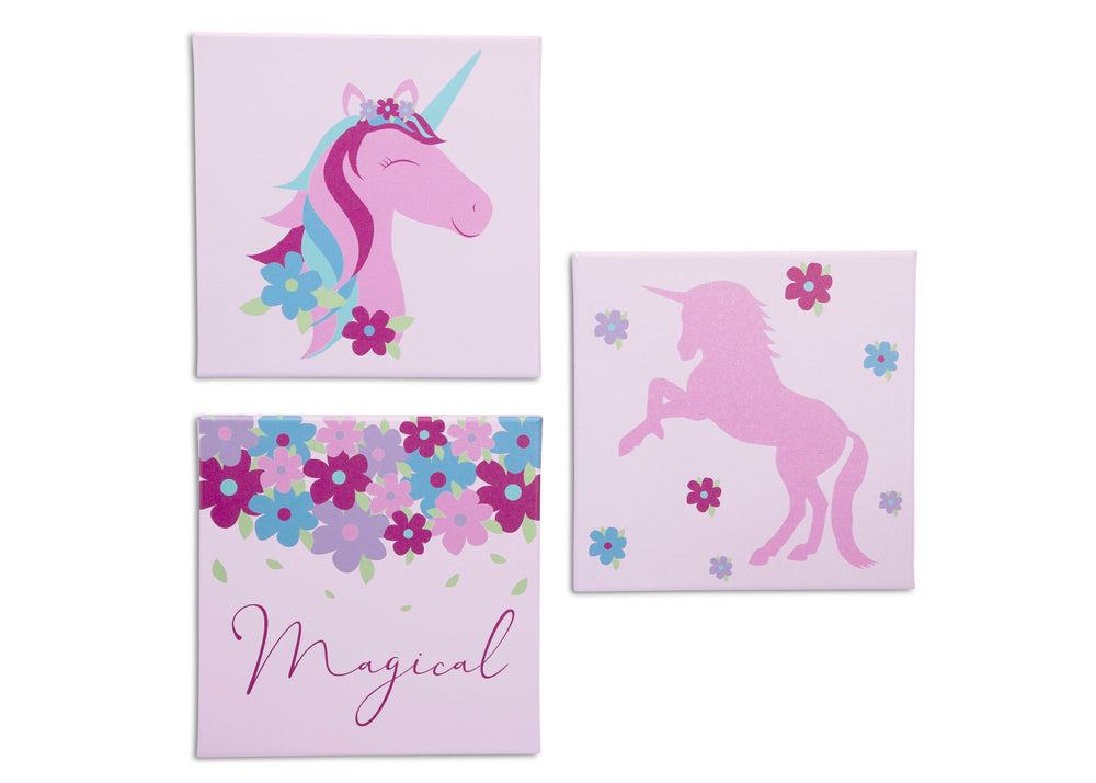 Delta Children Unicorn (3011) 3-Piece Canvas Wall Art Set for Girls, All Art Silo View