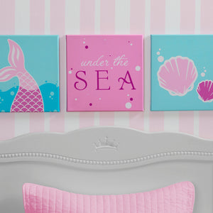 Delta Children Seashell (3013) 3-Piece Canvas Wall Art Set for Girls, Hangtag View