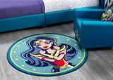Super Hero Girls Soft Area Rug with Non-Slip Backing (3'3 x 3'3)