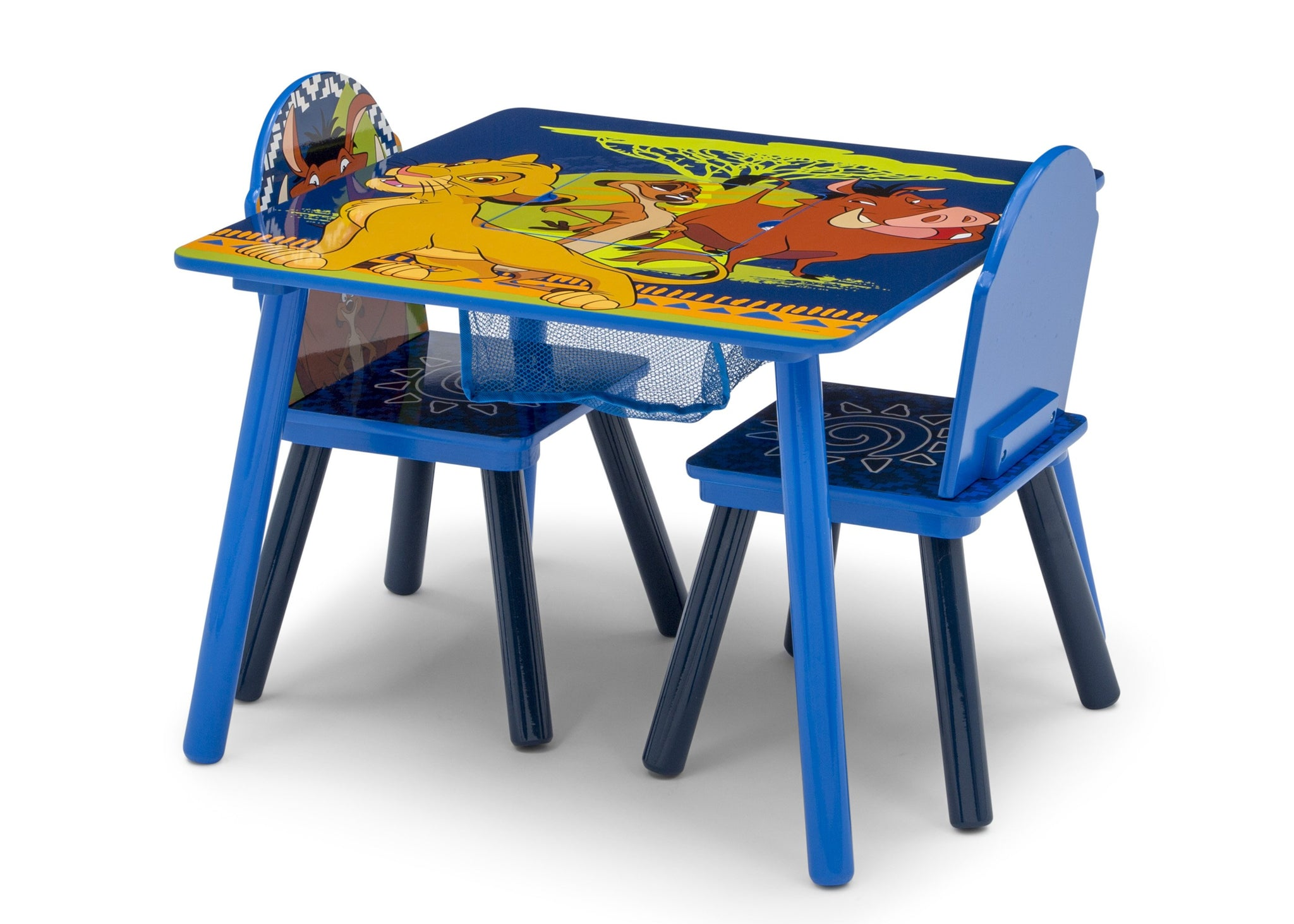 Delta Children The Lion King (1079) Table and Chair Set with Storage, Left Silo View with Chairs In