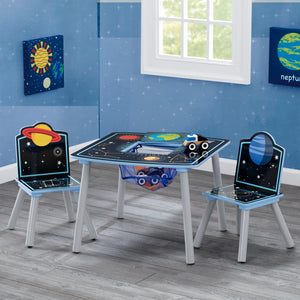 Space Adventures Kids Wood Table and Chair Set with Storage