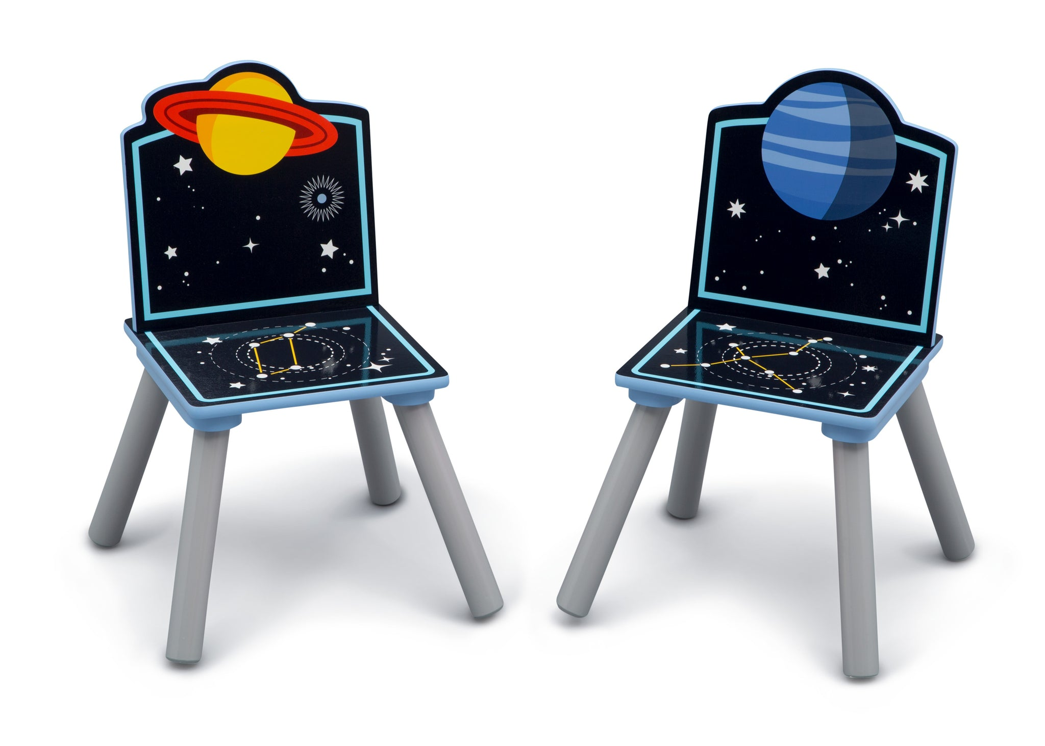 Delta Children Space Adventures (1223) Kids Wood Table and Chair Set with Storage, Chairs Detail View